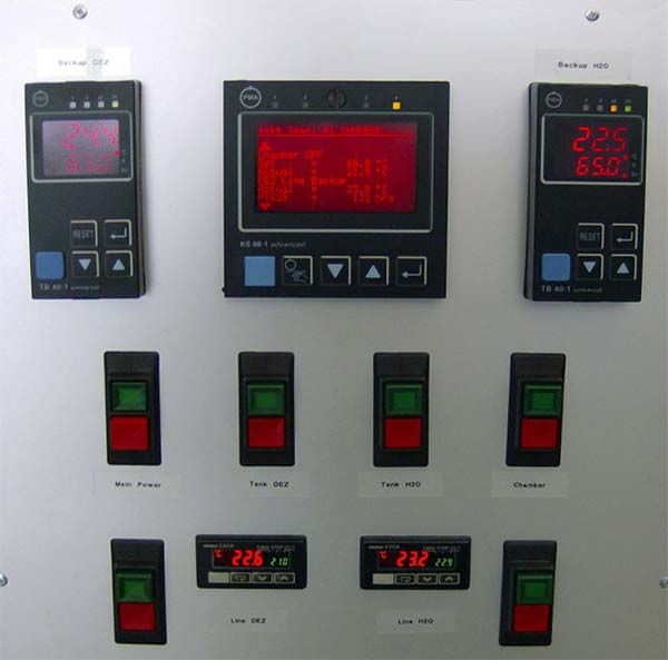 Control panel of a vaporizer system. A programmable controller is used for controlling and monitoring of the vaporization.